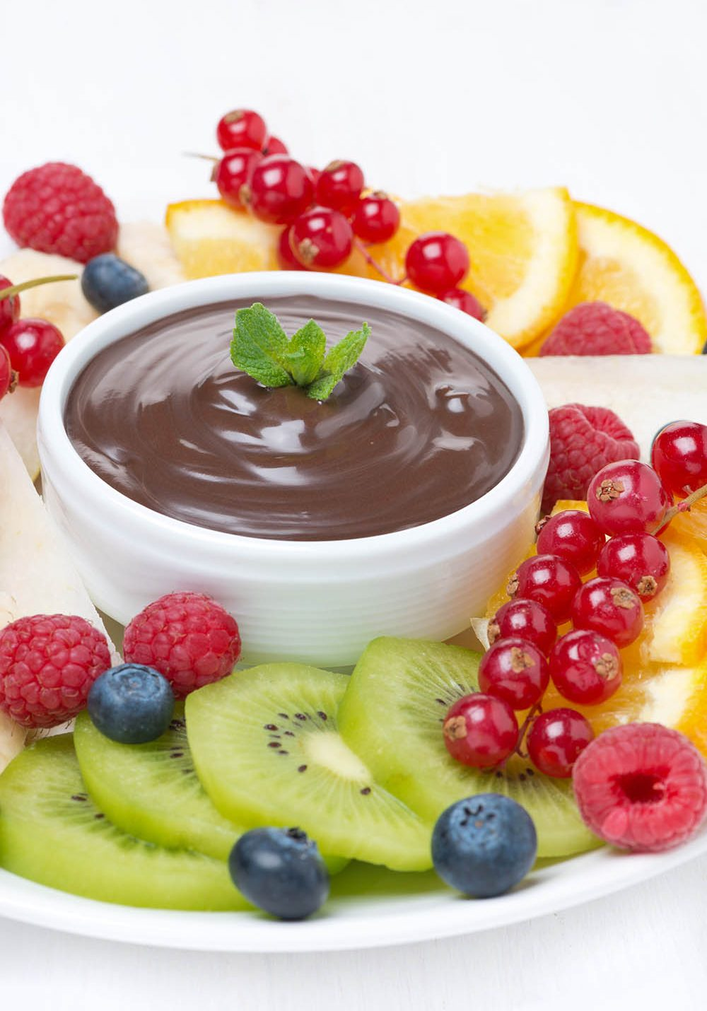 chocolate sauce, fresh fruit and berries, close-up